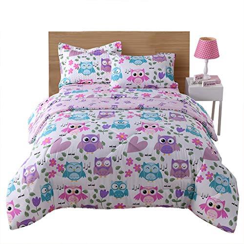 MarCielo Kids Comforter Set Girls Comforter Set Kids Bedding Set Include Sheet Set Bunk Beds for Kids Twin/Full, Owl (Twin)