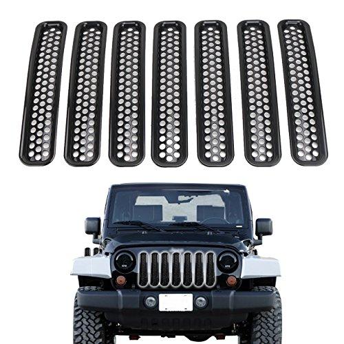 Rejilla para Jeep Wrangler TJ Rejillas Frontales de Radiador 7 Piezas ABS Rejilla de Malla Delantera de Coche Parrilla para 1997-2006 Jeep Wrangler TJ