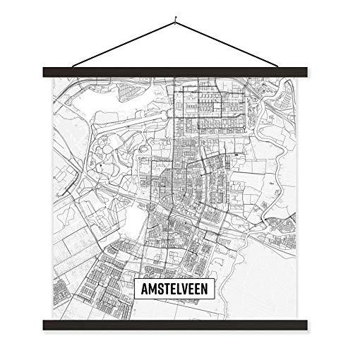 Schoolplaat Top 50 Nederlande uitsneden - Stadskaart Amstelveen textielposter latten zwart - Plattegrond 120x120 cm - Foto print op schoolplaat (wanddecoratie woonkamer/slaapkamer)