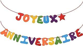 VINFUTUR Bandera Fieltro Banderín Cumpleaños Colorido con Palabra JOYEUX ANNIVERSAIRE Guirnalda Colgar Cumpleaños para Decoración Fiesta