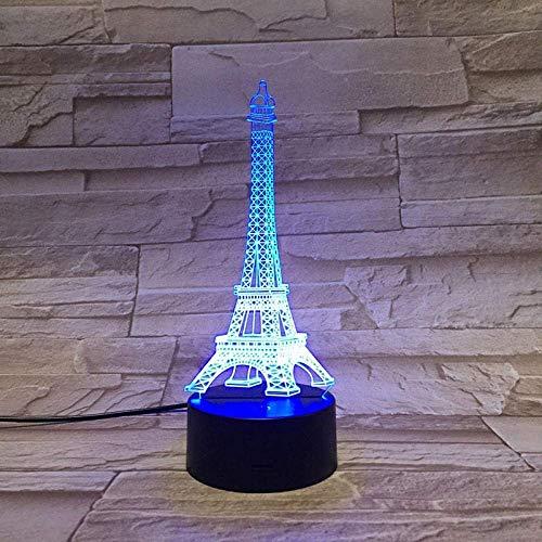 Luz De Ilusión 3D Luz De Noche Led Arquitectura De París Torre Eiffel Multicolor Con Control Remoto HermosoRegalo DeCumpleañosPara Niños