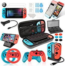 Keten Accessories Kit for NS, Including Carry Case, Charging Dock, Playstand, Extension Cable, Game Card Case, Screen Protector, J-Con Grips, Wheels, Crystal Case, TPU Case, Caps