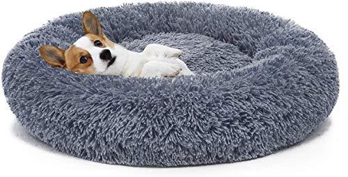 Umitvaz Cama Perro Gato Cama Mascota Redonda, cálida y Suave Cama calmante, Invierno Felpa Sofa de Cachorro Animales, con Fondo Antideslizante, Cómoda y Lavable, (XL:70cm)