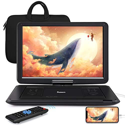Naviskauto lettore dvd portatile grande schermo da 16 pollici per bambini, borsa dotata,supporta HDMI/ MP4, autonomia da 5 ore, USB/TF/AV IN/OUT/region free,18 mesi di garanzia