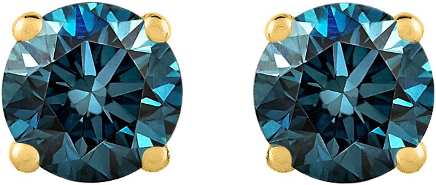 bluee  I1 Round Brilliant Cut Diamond Earring Studs in 14K gold
