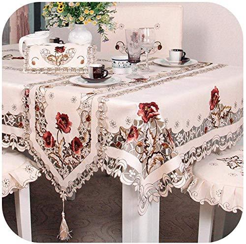 QUERT Textiles para el hogar, Exquisito Bordado Ahueca hacia Fuera la Cubierta de la Silla Paño de Mesa Elipse...