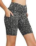 Suawave - Mallas Cortas para Mujer, Pantalones de Deporte, Yoga, Running, Talla Normal Negro y Blanco XL