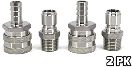 Concord 304 Stainless Steel Quick Disconnect Barb Hose with MPT Set. Home Brewing Mash Tun. 2 Pack (Barb Female/MPT Male)