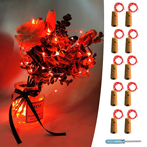 UNIQLED 10 Packs 20 LED Wine Bottle Cork Starry String Lights Battery Operated Fairy Night Wire Lights for DIY Wedding Decor Party Christmas Holiday Decoration (Red)