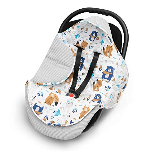 EliMeli Einschlagdecke für Babyschale 100% Baumwolle - Leichte Baby Decke für Autositz aus Waffelstoff und Baumwolle für den Sommer und Frühling, universal z.B. Maxi Cos (Grau - Waldtiere)