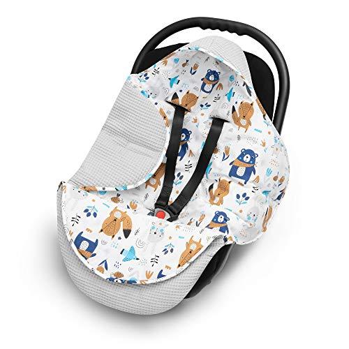 EliMeli EINSCHLAGDECKE für Babyschale Baby Decke für Autositz und Kinderwagen aus Waffelstoff und Baumwolle mit Füllung, universal z.B. Maxi Cosi Kinderwagendecke (Grau - Waldtiere))