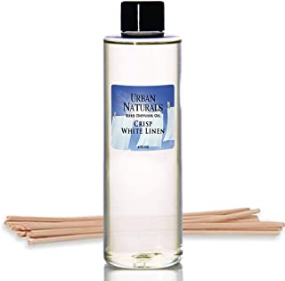 Urban Naturals Crisp White Linen Scented Oil Reed Diffuser Refill | Free Set of Reed Sticks! A Fresh, Clean Cotton Scent, 4 oz