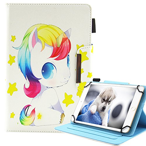 A-BEAUTY - Funda universal para tablet Galaxy Tab 3 7.0/Tab 4 7.0/Tab A 7.0/Kindle Fire 7/Huawei Mediapad T3 7.0 y más 7 pulgadas, diseño de unicornio
