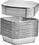 [25 Pack] 8' Square Disposable Aluminum Cake Pans with Foil Lids, Foil Pans Food Containers Perfect for Baking Cakes, Cooking, Roasting, Homemade breads