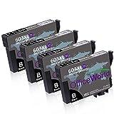 OfficeWorld 603 XL Patronen (4 Schwarz) Ersatz für Epson 603XL Druckerpatronen für Epson Expression Home XP-2100 XP-3100 XP-3105 XP-4100 XP-4105 Workforce WF-2830DWF WF-2835DWF WF-2850DWF WF-2810DWF