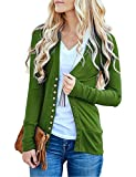 Traleubie Women's Long Sleeve V-Neck Button Down Knit Open Front Cardigan Sweater Olive M