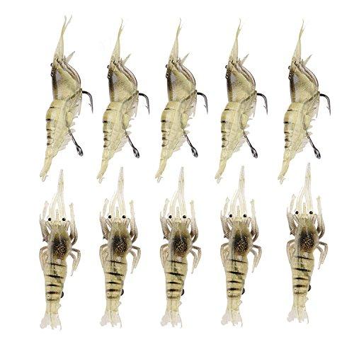 10 Soft Künstliche Angeln Köder Fisch Köder Set mit Haken Angeln Tackle Zubehör für Forellen Bass lachs