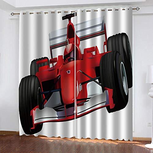 wangcheng1 Roter Rennwagen-Vorhang Blickdicht Kinderzimmer Gardinen mit Ösen Verdunkelungsvorhang für Schlafzimmer Thermo Vorhänge 2 Stücke 117X183cm(BxH)