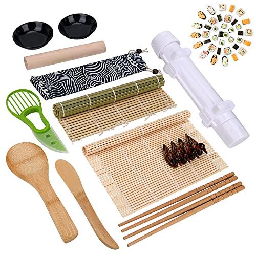 Mlryh Kit para Hacer Sushi 18 Pcs Kit de Sushi Bambo Sushi Maker Kit de fabricación de Sushi DIY Juego Completo de Cocina Adecuado para Principiantes