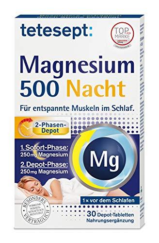 tetesept Magnesium 500 Nacht – Nahrungsergänzungsmittel mit hochdosiertem Magnesium für entspannte Muskeln im Schlaf – 1 x 30 Tabletten