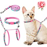 PAWCHIE Cat Harness with Leash and Collar Set - Escape Proof Adjustable H-shped Cat Vest, Soft Comfortable Strap for Cats Outdoor Walking, Flower Pattern
