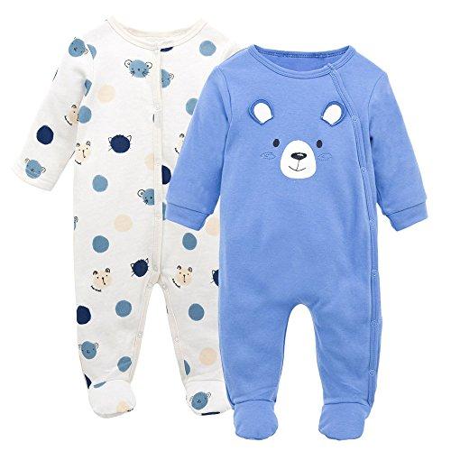 Bébé Combinaison en Coton 2 pièces Pyjama Filles Garçons Barboteuses Grenouillères Jumpsuit Tenues 0-3 Mois