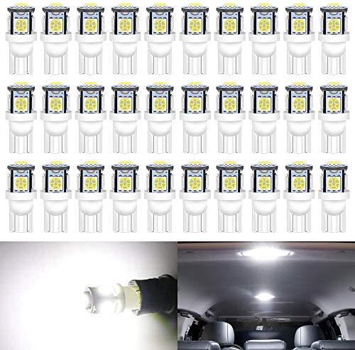 ALOPEE - Paquete de 30 - Blanco 194 T10 168 2825 W5W 175 158 Bombilla 5050 5 SMD Luz LED, 12V Iluminación interior del coche Para Luz del Mapa Hazme Bombillas de Salpicadero Luces de matrícula Laterales