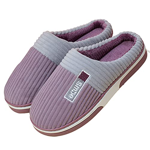 LZHi1 Mujeres para Hombre Acogedor Casa Zapatillas De Felpa Alineada Casa Zapatos Casuales Pareja Zapatillas Invierno Interior Caliente Antideslizante Borroso Zapatillas(Size:39/40,Color:Púrpura)