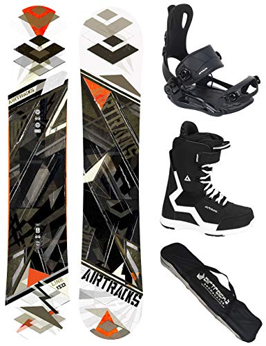 AIRTRACKS SNOWBOARD SET/LINE SNOWBOARD WIDE FLAT ROCKER + SOFTBINDING MASTER + SOFTBOOTS + SB BAG / 150 152 157 159 162 / cm