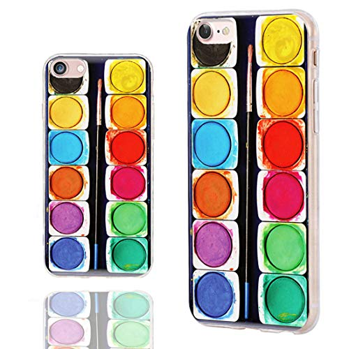 iPhone SE 2020 Case,iPhone 8 Case Cute,iPhone 7 Case Cool,ChiChiC Slim Flexible Soft TPU Rubber Protective Cases Cover for iPhone 7 8 SE 2020 4.7 Inch,Funny Aesthetic Art Colorful Watercolor Paint Box