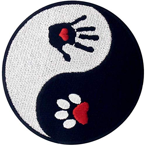 Dog and Human Ying Yang Patch Embroidered Applique Iron On Sew On Emblem