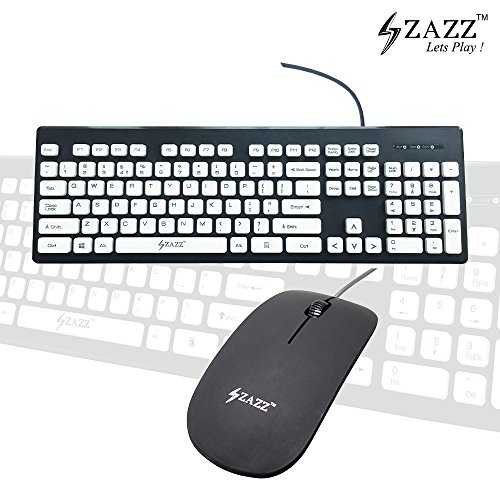 ZAZZ Combo Chocolate Chiclet Island Keyboard Mac PC Laptop Washable Spill-Proof 104 White Island Keys Easy Typing ABS Plastic 1000Dpi Sleek Lightweight Optical Ergonomic Mouse Smooth Rubber Finish