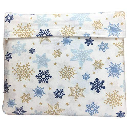 North Pole Trading Co. Flannel Sheet Set Blue Snowflakes Twin Bed, Sheets Bedding