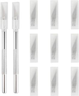 EXTSUD - Juego de cuchillos de Hobby, 2 asas y cuchilla con tapa protectora, 72 cuchillas de repuesto para cuchillo de tallar de cuero cabelludo en 9 cajas