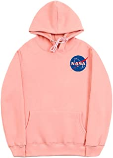 Fashion NASA Logo Print Hoodie Sweatshirt with Pocket(Smaller Than Standard Size)