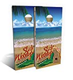 Slick Woody's Bikini Surf Cornhole Set with 8 Cornhole Bags, Baltic Birch Plywood Tops for The Smoothest Flattest Playing Surface, Retractable Legs and Back Bounce Brace