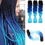Ombre Kanekalon Braiding Hair Extensions 24' 100g/pcs Synthetic Hair Extensions(black-bule-light blue)3pcs