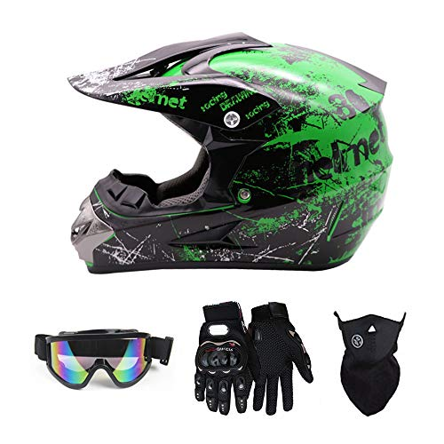 SanQing Motocross Helmet Fashion Youth Kids Dirt Bike Helmet Unisex-Adult Dirt Bike Off-Road Mountain Bike Motorcycle Helmet DOT Approved (Gloves Goggles Face Shield) 4Pcs Set (Green, X-Large)