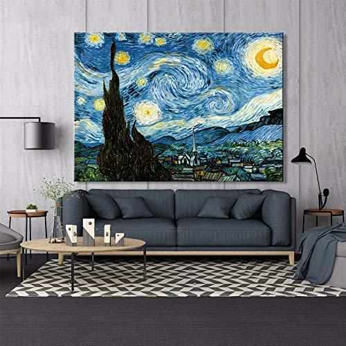tzxdbh Starry nachtposter en replica muur kunst canvas schilderij beroemde schilderij woonkamer huisdecoratie schilderij 60X80cm Frameloos