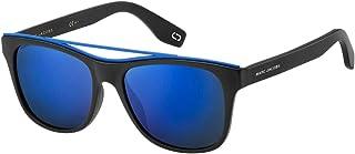 نظارات مارك جاكوبس مارك 303/S بلون أسود مطفي مع عدسات مرآة زرقاء سماوية 54 ملم 003XT Mark 303S Marc303S Marc303/s