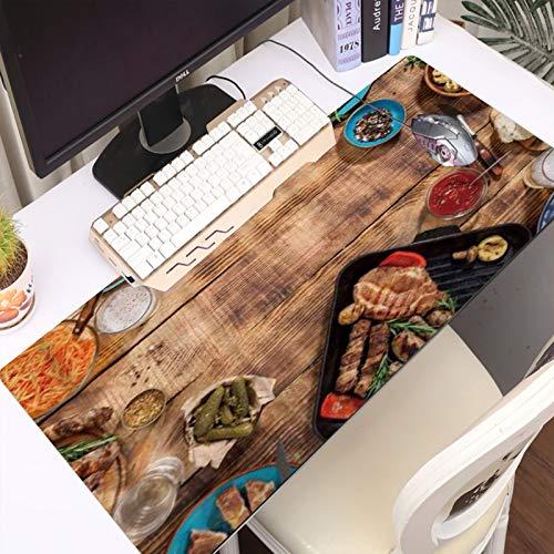 Alfombrilla Gaming para PC Apetitosas salchichas de filete a la parrilla y verduras a la parrilla en una mesa de picn Máxima Precisión con Cualquier Ratón, Base de Caucho Natural, Máxima Comodidad