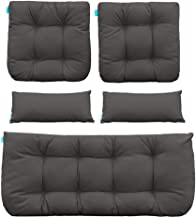 QILLOWAY Outdoor Patio Wicker Seat Cushions Group Loveseat/Two U-Shape/Two Lumbar Pillows for Patio Furniture,Wicker Loveseat,Bench,Porch,Settee of 5 (Dark Grey)