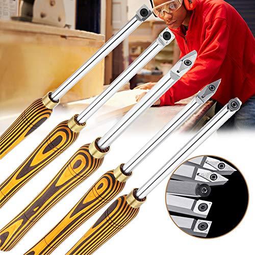 5 Pezzi Set Strumenti per Intaglio del Legno, Utensili per la Rotazione del Tassello per scalpello in Legno tornio per Legno, Strumenti per Intaglio Artigianale Professionale per scalpellatore