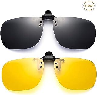 9e56df4de4c SUNINC Clip On Sunglasses Over Prescription Glasses Polarized Lens Flip Up  Shades Driving Sunglasses for Men