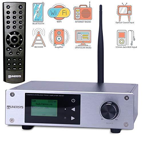 TUNERSYS Sintonizzatore Radio Internet WiFi Tuner HiFi - Ricevitore digitale Reb Tuners Amplificatore 100 Watt RMS - Sistema stereo Bluetooth Wlan - Ricevitore di rete - WS161