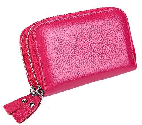 iSuperb Porta Carte di Credito RFID Portafoglio Portamonete in Pelle Wallet Credit Card Holder da Viaggio 11x7.5x4cm (Rosso)