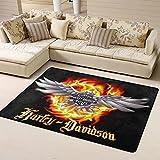 Harley Davidson - Alfombra suave y peluda, ultra antideslizante...
