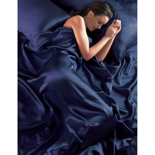 Navy Blue Satin Seamless Double Duvet Cover, Fitted Sheet and 4 Pillowcase Set