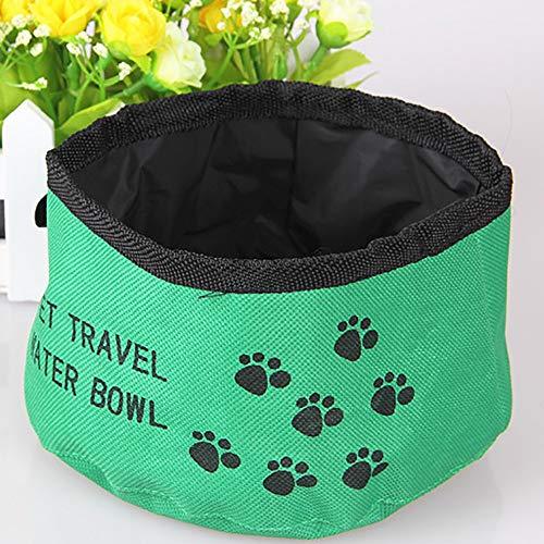 JOYIYUAN Zusammenklappbarer Hundenapf Faltbarer erweiterbarer Schalen-Teller für Haustier-Katzenfutter-Wasser, das tragbare Reiseschüssel einzieht (Farbe : Grün)