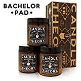 CANDLETHEORY Scented Man Candle Gift Set with 3, 4 oz Scents & Crackling Wood Wicks, Warm Tobacco, Smoked Suede, and Fresh Shave - Candles for Men - Man Cave Stuff